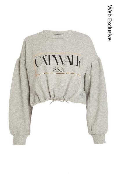 Grey Cropped Slogan Sweatshirt